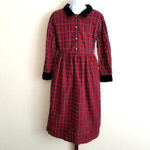 Lands' End Corduroy Velvet Trim Holiday Dress